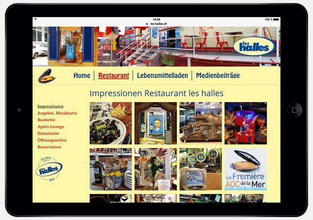 Screenshot les halles Website